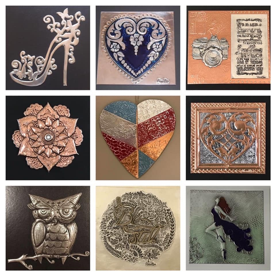 Metal embossing and pewter art inspiration. Copper, pewter, aluminium and colour coated metals were used.