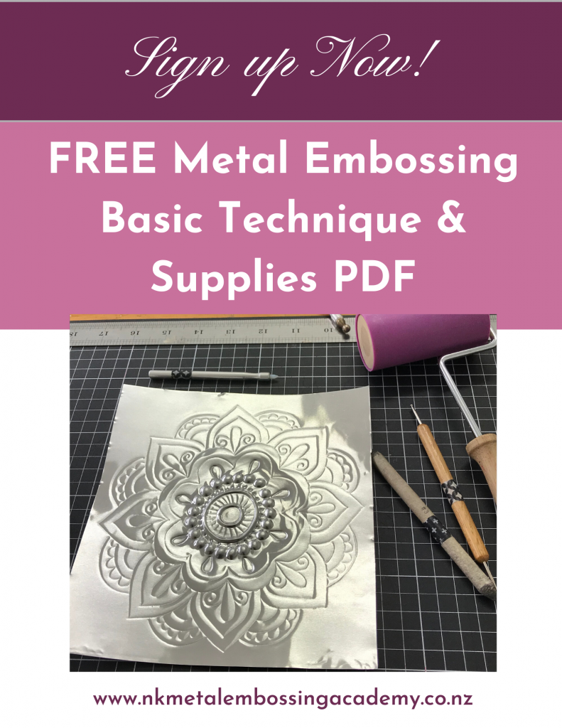 Sign up  for your FREE Basic Metal Embossing Techniques PDF Cheat Sheet