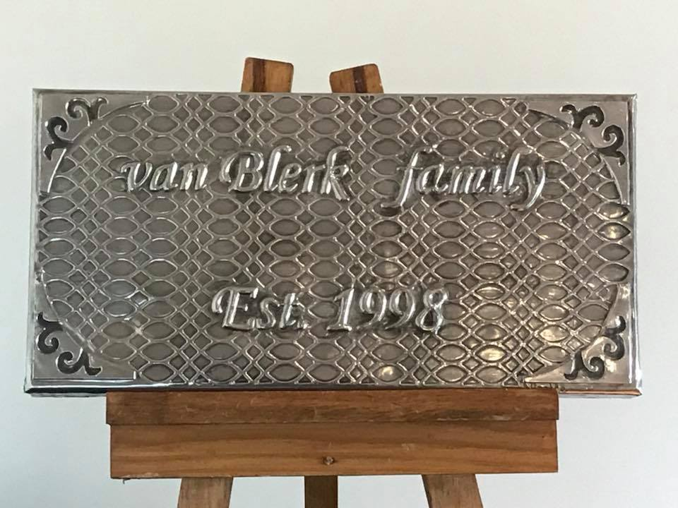 Pewter metal embossing