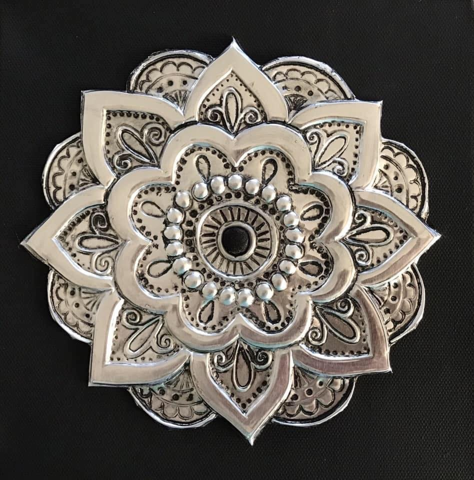 Metal embossed Mandala. Done on aluminium sheet using low relief, high relief and engraving techniques.