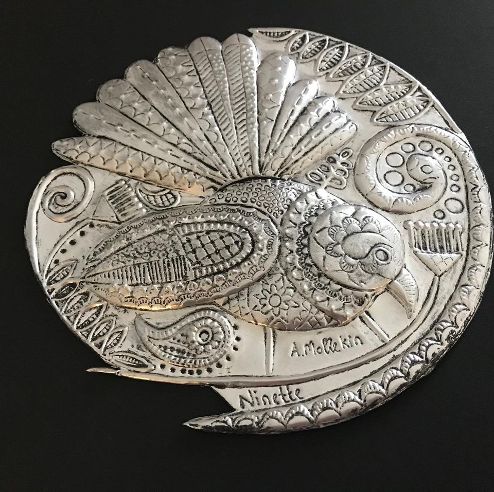"""Embossed Metal """"Fantail's Lace"""" design"""
