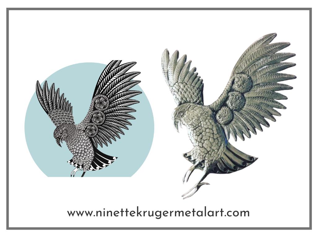 Totaea original drawing Kea on the left and Ninette's metal interpretation of Kea