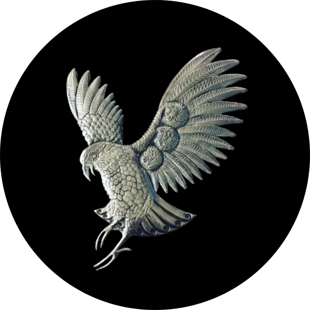 New Zealand metal bird art pewter Kea bird