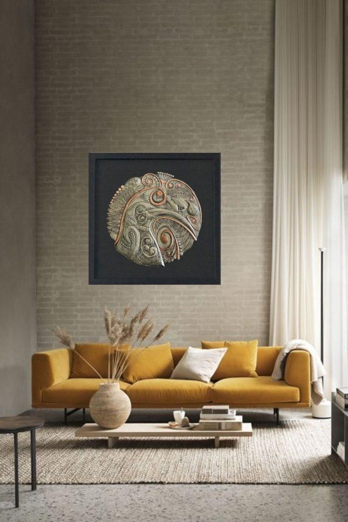 Silver metal kiwi bird wall artwork
